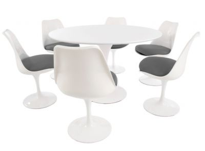 Tulip Six Seater Dining Set With Grey Cushions And A Plain Top Side View