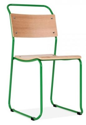 Bauhaus Industrial Chair Green Frame Front Angle
