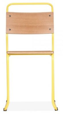 Bauhaus Industrial Chair Yellow Frame Front View