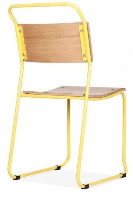 Bauhaus Industrial Chair Yellow Frame Rear Angle