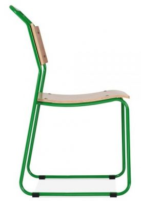 Bauhaus Industrial Side Chair Green Frame Side View