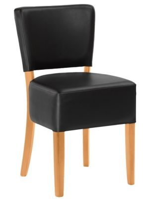 Rosie V2 Chair Black Leather Natural Finish