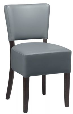 Rosie V2 Dining Chair In Grey Leather With A Black Frame