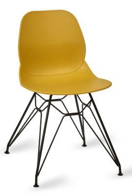 Mylo V6 Pyramid Chair Mustard Shell Black Frame