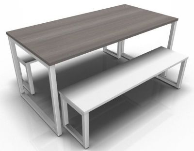 Avalon Dining Set With Anthracite Table Top And White Bench Top