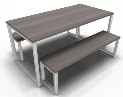 Avalon Dining Set With A Nthracute Tops Nd Silver Frame