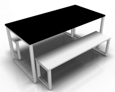 Avalon Hoop Dining Set With A Black Table Top And White Benches