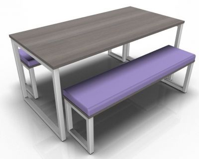 Avalon Lop Bench Set With Top In Anthracite And Purple Bench Upholstery