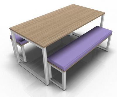 Avalon Hoop Dining Set With An Oak Table Top And Purple Bench Upholstery