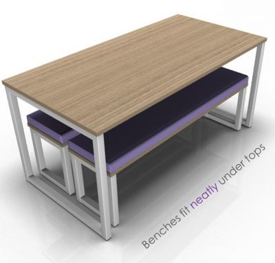 Aavlon Loop Dining Set With Benches Stowed Under The Table