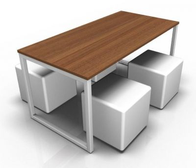 Avalon Loop Dining Set With Four White Cubes And A Walnut Top