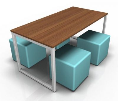 Avalon Loop Dining Set With A Walnut Top And Four Blue Cubes
