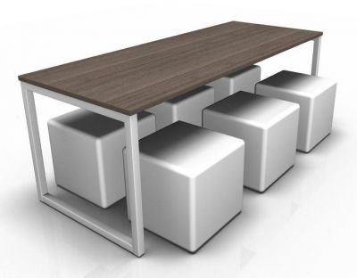 Avalon Loop Dining Set With A Top In Walnut And Six White Cubes