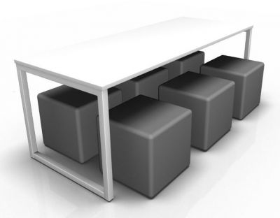 Avalon Loop Dining Ser With A White Bench And Grey Cubes
