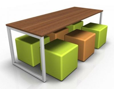 Avalon Loop Dining Banch And Green & Orange Cubes