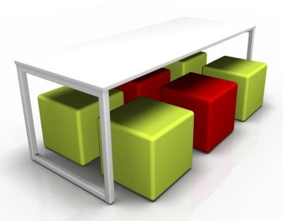 Avalon Dining Bench With A White Top And Red And Green Cubes