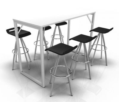 Avalon Loop Bar Height Table With A White Top