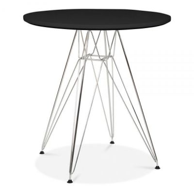 Revo Designer Table With A Black Top And Chrome Frame
