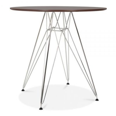 Revo Designer Table With A Walnut Top And Chrome Frame