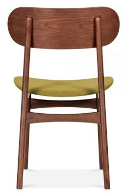 Texas Designer Dining Chair With An Olive Fabric Seat Rear View