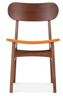 Texas Designer Side Chair With A Walnut Finish And Orange Seat Front Shot