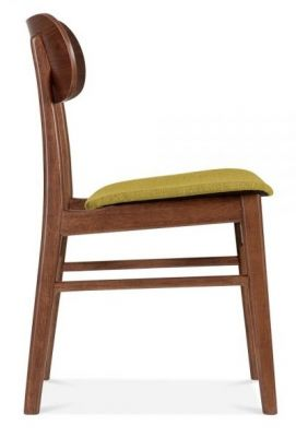 Texas Dining Chair With An Olive Fabric Seat Side View