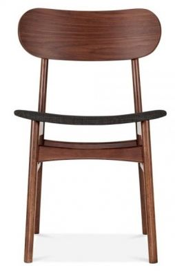 Texas Designer Dining Chair With A Dark Grey Fabric Seat Front View