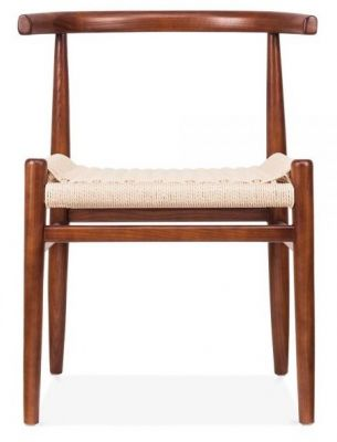 Svenda Designer Dining Chair With A Walnut Frame Front View