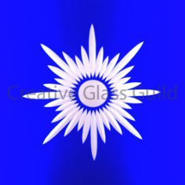 Etched Glass - Brilliant Cut Star Burst Blue