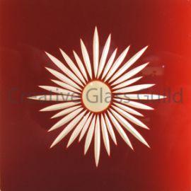Etched Glass - Brilliant Cut Star Burst Ruby