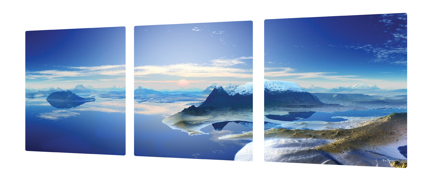 An image of Pin Panelz Panoramic Fjord 3 Pack - Indoor Noticeboards