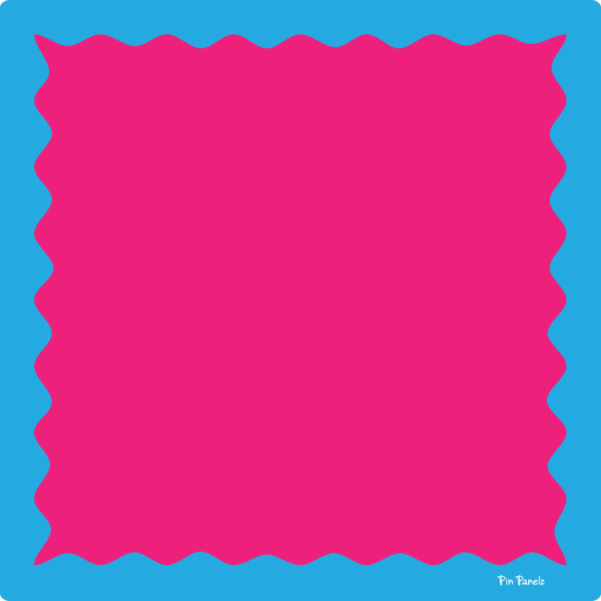 An image of Pin Panelz Primary Pink with Blue Border - Shaped Noticeboards