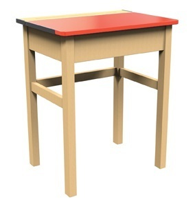 Single Locker Desk Red Top