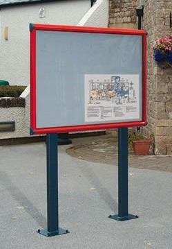 An image of Shield Post Mounted Lockable Outdoor Noticeboard - Outdoor Noticeb...