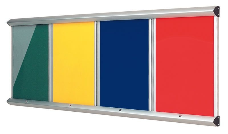 An image of Shield Showline Fire Resistant Multi-bank Noticeboards - Lockable...
