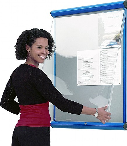 An image of Shield Showline Fire Resistant Lockable Noticeboard - Lockable Not...