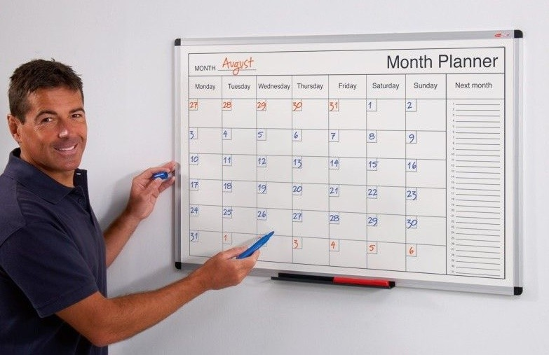 An image of Dry Wipe Perpetual Planners - Printed Whiteboards