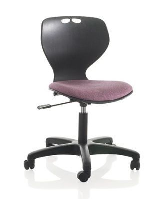 Matal Contemporary Swivel Chair With Adjustable Height In Black With Purple Upholstered Seat