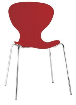 Piazza Polypropylene Genera Purpose Chair In Red And Chrome