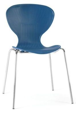 Piazza Polypropylene General Purpose Chair In Blue With Chrome Frame