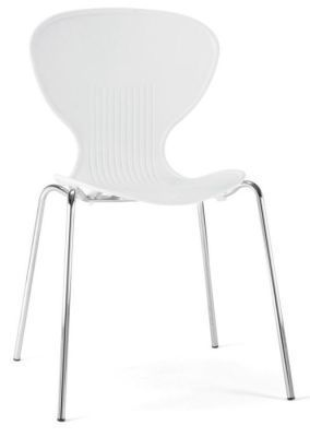 Piazza Polypropylene General Purpose Chair In White With Chrome Frame