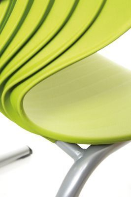 Matal Reverse Cantilever Multipurpose Chair Close Up Of The Seat In Green