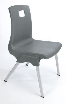 Stylus Poly Education Chair In Grey Front Side View
