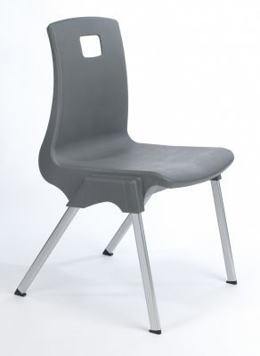 Stylus Poly Education Chair In Purple With A Student On The Chair