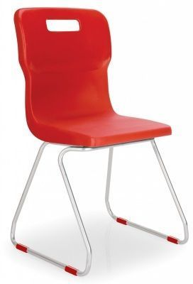 Titan Poly Chairs With Skid Base Design In Red