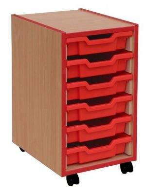 An image of Coloured Edge 6 Shallow Tray Storage - Shallow Storage Trays for S...