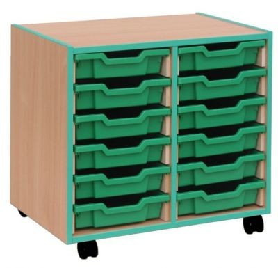 An image of Coloured Edge 12 Shallow Tray Storage - Shallow Storage Trays for...