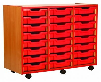 An image of Coloured Edge 24 Shallow Tray Unit - Shallow Storage Trays for Sch...