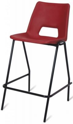 PP1 Heavy Duty High Stool Red Seat And Black Frame