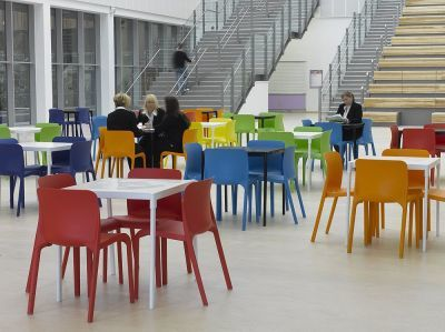 Office Breakout Area Using POP Blue,orange,red,green And Yellow Seating